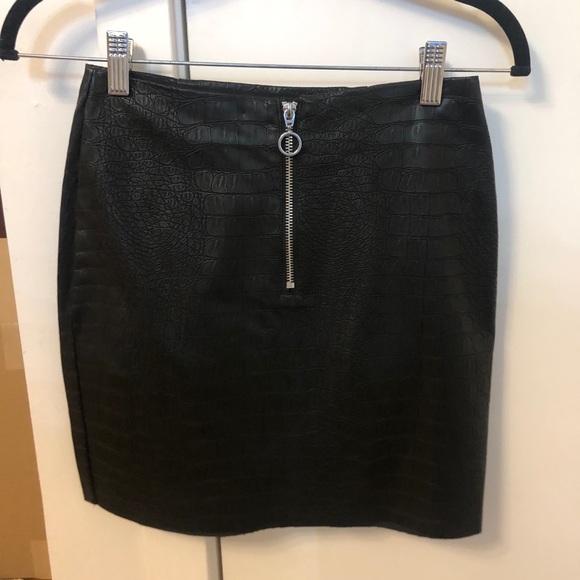 Faux croc / leather mini skirt